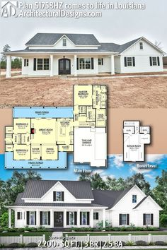 Like this floor plan.but would want separate bathrooms for each bedroom. Would want to widen that exterior wall and allow the extra space. Architectural Designs Modern Farmhouse Plan client-built in Tennessee. More photos online. Ready when you are. New House Plans, Dream House Plans, My Dream Home, Home Floor Plans, 2200 Sq Ft House Plans, 4 Bedroom House Plans, The Plan, How To Plan, Modern Farmhouse Plans