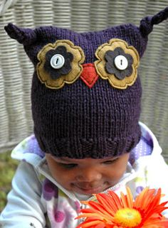 Ollie Owl Hat by Nona Devenport for IDP, shown in Purple Swish Bulky.