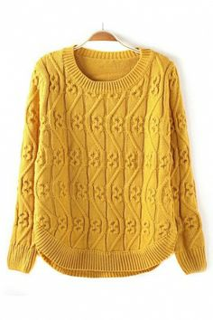 GORGEOUS Vintage Vertical Twisting Wave Yellow Pullover Sweater #gorgeous #sweater #fashion