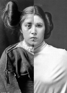 """Nicholas Galanin's """"Things are Looking Native, Native's Look Whiter,"""" combines an Edward S. Curtis image and a photo of Princess Leia. American Indian Art, American Indians, Native American, Tlingit, Indigenous Art, Native Art, Make Art, Ravenclaw, Art Museum"""