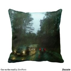 Car on the road throw pillow