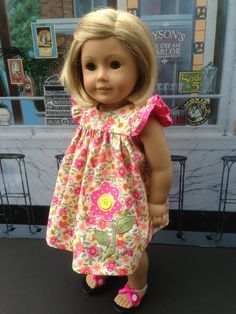 Flutter Sleeve Dress for American Girl 18 inch by mybonbonboutique, $25.00