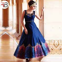 Latests Royal Blue Designer Cut Sleeves Party wear Gown. Party Wear Gowns Online, Western Wear Dresses, Ethinic Wear, Ethnic Gown, Types Of Sleeves, Tie Dye Skirt, Top Colour, Navy Blue, Royal Blue