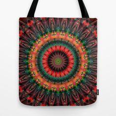 Mandala Patchwork red 1 Tote Bag by Christine Baessler - $22.00