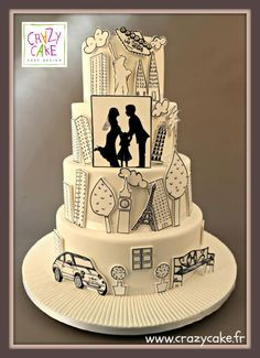 Silhouettes by Crazy Cake - http://cakesdecor.com/cakes/242566-silhouettes