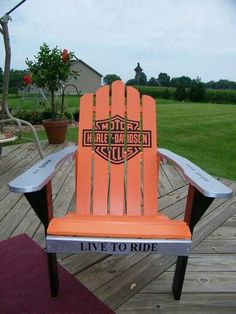 Harley Chair for when your not riding! Harley Davidson Gear, Harley Davidson Merchandise, Harley Davidson Motorcycles, Harley Bikes, Harley Gear, Harley Davison, Lawn Chairs, Wood Chairs, Wooden Stools