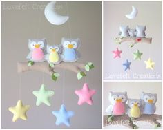Baby mobile Owl mobile Baby crib mobile by GiseleBlakerDesigns Baby Crafts, Felt Crafts, Diy And Crafts, Felt Mobile, Mobile Mobile, Bird Mobile, Diy Bebe, Baby Crib Mobile, Baby Owls