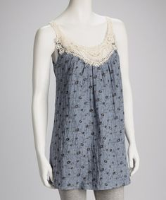 Take a look at this Blue Floral Crocheted Sleeveless Tunic by Aryeh on #zulily today!