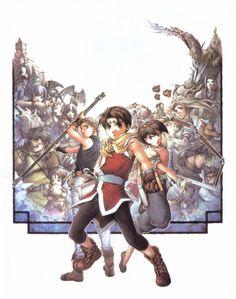 Scanned from the Suikoden II Character Guidebook. Artwork by Fumi Ishikawa. Suikoden, Manga, Ishikawa, Cover, Artwork, Fun, Anime, Fictional Characters, Video Games