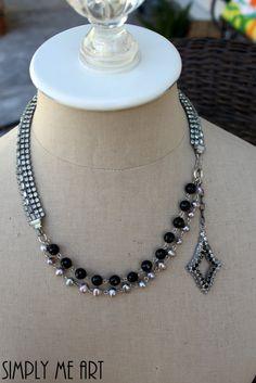Vintage Rhinestone Pearl and Onyx