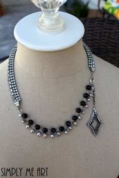 Vintage Rhinestone Pearl and Onyx Necklace, by simplymeart, $105.00