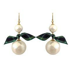 Tartan Pearl Drop Earrings