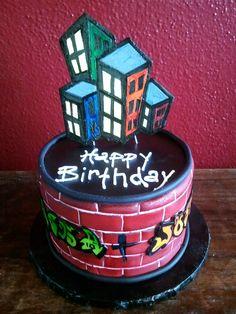 Graffiti Birthday Cake Neon Birthday, Custom Birthday Cakes, Adult Birthday Cakes, Themed Birthday Cakes, Happy Birthday Cakes, Themed Cakes, Birthday Cake Pinterest, Pinterest Cake, Dj Cake
