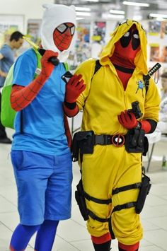 Spider-Man and Deadpool doing some awesome Adventure Time cosplay.