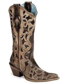 Corral Chocolate Tooled Cowgirl Boot - Snip Toe