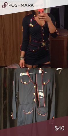 Marine Corps uniform Halloween costume Worn once for a Halloween party, great condition but lost the medal shown in the first picture. Super cute and sexy! Yandy Dresses Mini