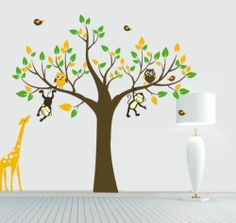 Big Monkey Giraffe Owl Bird Tree Wall Art Baby Kids Nursery Vinyl Sticker Room | eBay