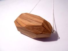 Yew Facet Necklace, Wooden Necklace, Wooden Jewellery, Facet Jewellery, Facet Necklace - pinned by pin4etsy.com