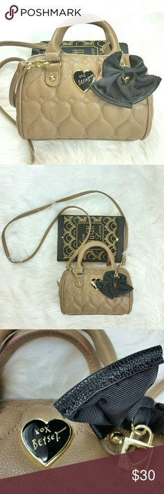 BETSEY JOHNSON Mini Bag ~Beige Color with black bow ~Has detachable crossbody dtrap ~Brand new never used Betsey Johnson Bags Mini Bags