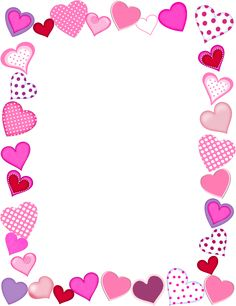 Free Frames png | Free Whimsical Hearts Frame Valentine's Day Graphic - Transparent PNG ...