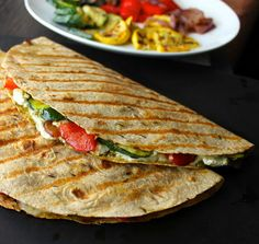 grilled vegetable with goat cheese and pesto quesadilla + 9 other vegetarian quesadillas | Rainbow Delicious