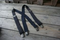 Vintage Navy Blue Suspenders with Silver Hardware by vintapod