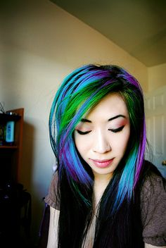 Black, purple, turqouise and green. Stunning. ( i love this, but am soo not brave enough to do it!)