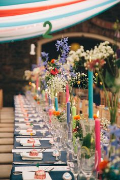 Colorful, ribbon filled Trudder Lodge Wedding by Siobhan Byrne | see all the fun at www.onefabday.com Wedding Reception Decorations, Table Decorations, Lodge Wedding, Floral Wedding, Party, Furniture, Lodges, Home Decor, Florals
