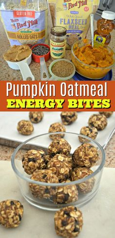 No-Bake Pumpkin Oatmeal Energy Bites Oatmeal, pumpkin, peanut butter, and honey get rolled into portable homemade bites for at home or on the go snacking! Baked Pumpkin Oatmeal, Pumpkin Spice, No Bake Oatmeal, Cooking Oatmeal, Pumpkin Pumpkin, Gourmet Recipes, Whole Food Recipes, Snacks Recipes, Recipies