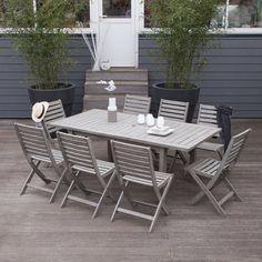 Salon de jardin table et 8 chaises en acacia grisé Silverwood : Decoclico
