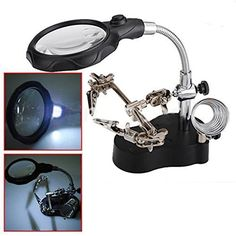 BABAN 3.5x 12X Helping Hand Clip LED Magnifying Soldering Iron Stand Len Magnifier by BABAN: Price:68.6With three pcs of AAA batteries (not…