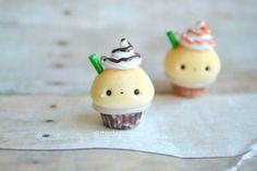 Kawaii Mocha Frappuccino Cupcake - Polymer Clay Charm, Polymer Clay Jewelry, Food Jewelry, Fake Food, Miniature, Jewelry, Pendant, Frappe