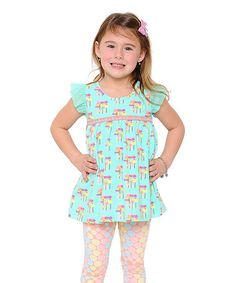 This Teal Mushroom Tunic - Toddler & Girls by Giovanna & Felice is perfect! #zulilyfinds