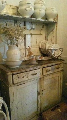 Rustic kitchen cabinets.  Distressed country look perfect for a rustic vintage kitchen