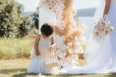 Floral Installation by Blossom and Wild. Photo by Tim Kelly and Nadine Ellen. Lunaria wedding, Auckland New Zealand. Auckland New Zealand, Floral Style, Ethereal, Art Direction, Earthy, Bouquets, Flower Girl Dresses, Bride, Wedding Dresses