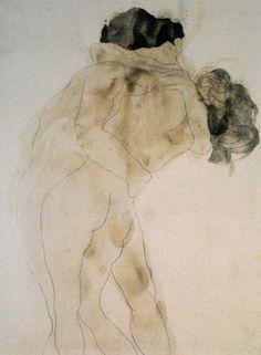 Le Baiser, (O Beijo) desenho de Auguste Rodin, 1905.
