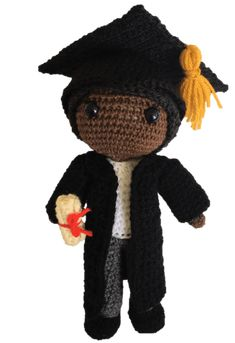 Free Graduation Dolls Amigurumi Pattern (Crochet Pattern) - including mortar board and scroll - lots of other free Amigurumi patterns available too Crochet Dolls Free Patterns, Crochet Doll Pattern, Amigurumi Patterns, Free Crochet, Crochet Symbols, Wedding Doll, Party Time, Diy And Crafts, Daisy