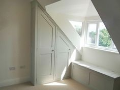 Possible window for storage rm off up TV rm  Image result for eaves wardrobe window