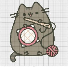 counted cross stitch tips Kawaii Cross Stitch, Mini Cross Stitch, Simple Cross Stitch, Beaded Cross Stitch, Cross Stitch Animals, Cross Stitch Embroidery, Embroidery Patterns, Pixel Pattern, Cat Pattern