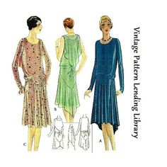 1920s Ladies Dress With Shoulder Drape - Reproduction Sewing Pattern #Z5428 $17