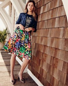 J.Crew women's fatigue shirt, Rome destination art T-shirt, double-pleated midi skirt in colorful brushstroke and Avery heels in tweed.