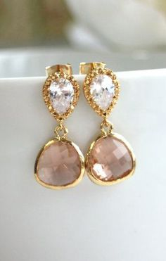 Champagne Peach Gold Plated Jewels Earrings