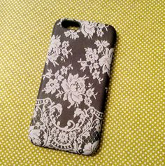 iPhone 6 Case Gray Lace iPhone 6 case Gray by cellcasebythatsnancy Floral Iphone 6 Case, Cute Iphone 6 Cases, New Iphone 6, Best Iphone, Lavender, Unique Jewelry, Handmade Gifts, Christmas 2015, Gray