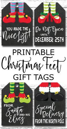 Printable Christmas Feet Chalkboard Gift Tags, Elf Feet, Santa Feet https://www.etsy.com/ca/listing/472540914/christmas-gift-tags-printable-holiday