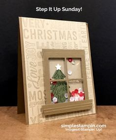 card christmas tree trees window stampin-up christmas card merry medley stamp peaceful pines stamp perfect pines framelits window sheets shaker-card