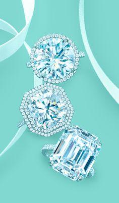Round brilliant, cushion-cut and emerald-cut diamond engagement rings in platinum. #TiffanyPinterest