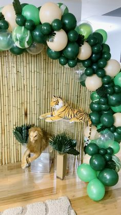 Bamboo backdrop, jungle animals, and balloons! A beautiful setup for a firs… [Video] in 2020 (With videos) Safari Theme Birthday, Jungle Theme Parties, Baby Boy 1st Birthday Party, Safari Theme Baby Shower, Jungle Theme Baby Shower, Themed Parties, Party Animals, Jungle Animals, Jungle Safari