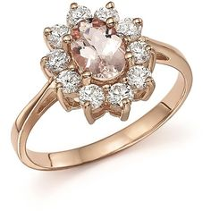 Morganite and Diamond Ring in 14K Rose Gold ($3,585) ❤ liked on Polyvore featuring jewelry, rings, red gold ring, bloomingdales jewelry, 14k jewelry, 14 karat gold jewelry and diamond rings