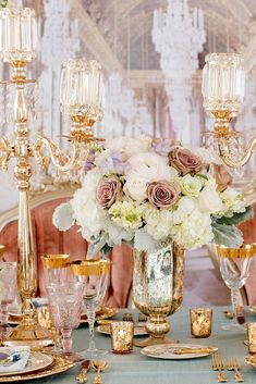 This Versailles-inspired setup is giving off major. This Versailles-inspired setup is giving off major luxe vibes! Gold Wedding Decorations, Reception Decorations, Wedding Themes, Event Decor, Wedding Events, Wedding Styles, Wedding Receptions, Wedding Ideas, Wedding Inspiration
