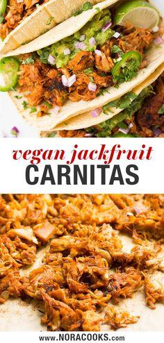 "Jackfruit Carnitas - Tender, crispy, vegan Mexican ""meat"" that is full of flavor. - My list of the best food recipes Vegan Mexican Recipes, Vegan Dinner Recipes, Veggie Recipes, Whole Food Recipes, Vegetarian Recipes, Cooking Recipes, Jackfruit Dinner Recipes, Vegetarian Mexican Food, Gastronomia"